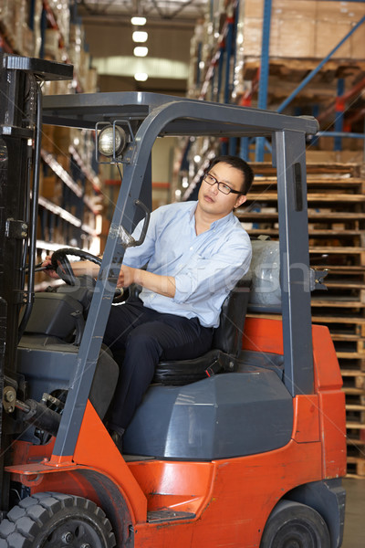 Man Driving Fork Lift Truck In Warehouse Stock photo © monkey_business