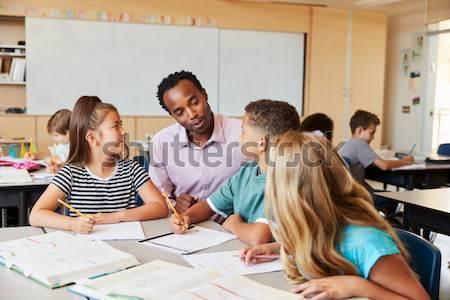 Retrato masculina estudiar escritorio aula nina Foto stock © monkey_business