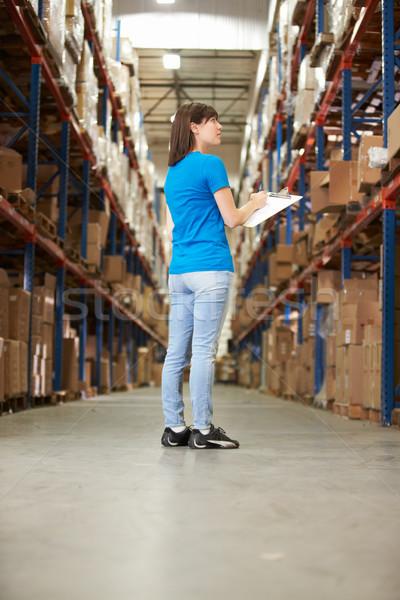 Stock fotó: Hátsó · nézet · női · munkás · disztribúció · raktár · nők