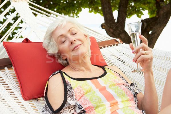 Altos mujer relajante playa hamaca champán Foto stock © monkey_business