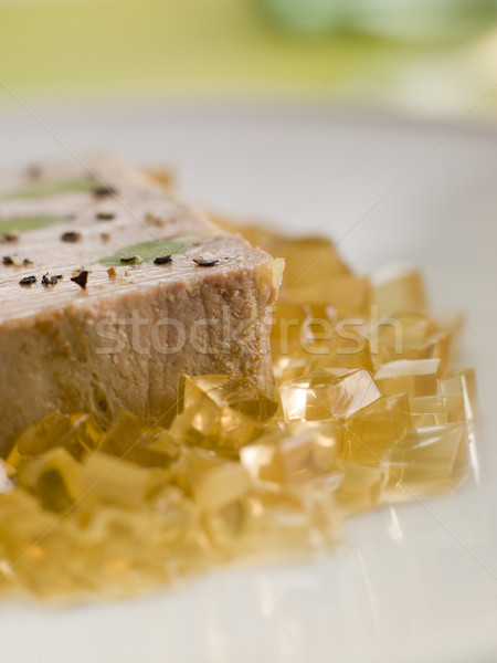 Foie Gras and Baby Leeks with Sauternes Jelly Stock photo © monkey_business