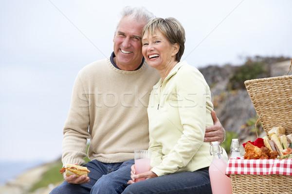 Stockfoto: Paar · eten · maaltijd · strand · brood
