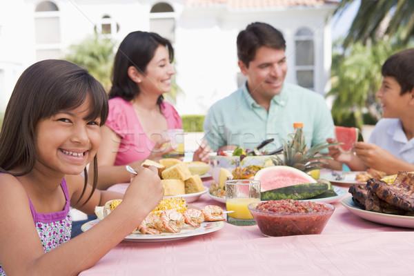 Stockfoto: Familie · genieten · barbecue · voedsel · moeder · jongen