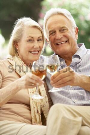 Stok fotoğraf: çift · şampanya · gülen · adam · mutlu