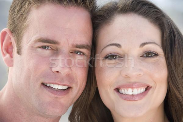 Stockfoto: Paar · buitenshuis · glimlachend · gras · man · gelukkig