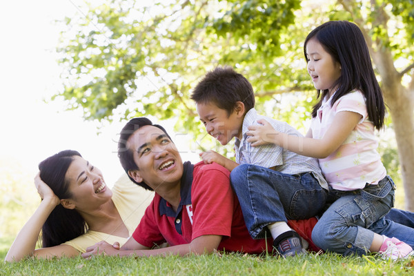 Family lying outdoors being playful and smiling Stock photo © monkey_business