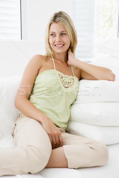 Stockfoto: Vrouw · vergadering · woonkamer · vrouwen · home · salon