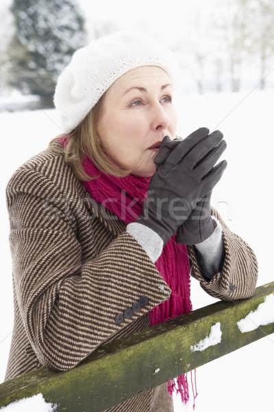 Idős nő áll tájkép kezek boldog Stock fotó © monkey_business