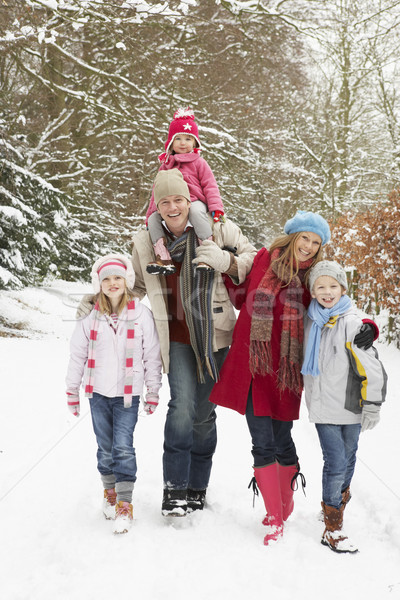 Family Walking Through Snowy Woodland Stock photo © monkey_business