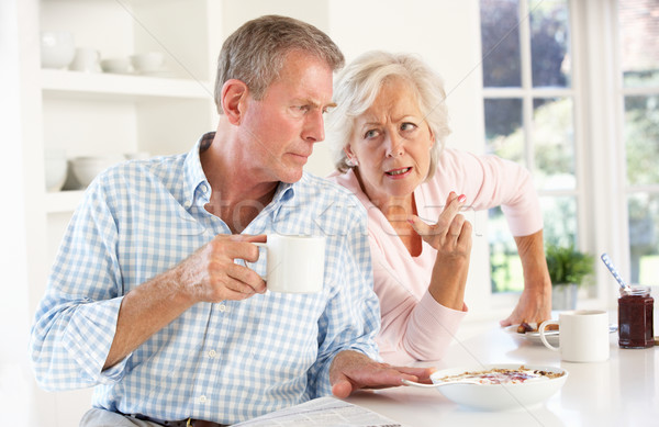 Retired couple arguing at breakfast Stock photo © monkey_business