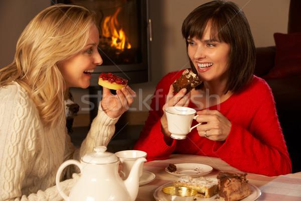 Dwa w średnim wieku kobiet herbaty ciasto Zdjęcia stock © monkey_business