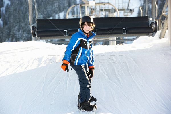 Young Boy Getting Off chair Lift On Ski Holiday In Mountains Stock photo © monkey_business