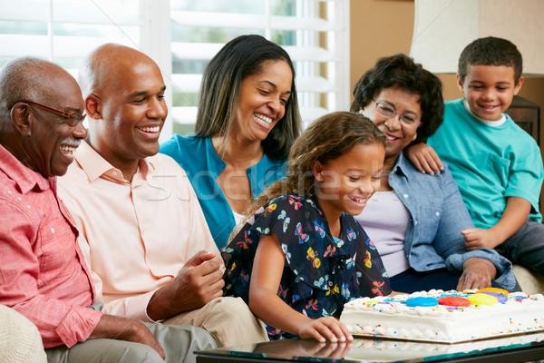 Többgenerációs család ünnepel születésnap nő család gyerekek Stock fotó © monkey_business