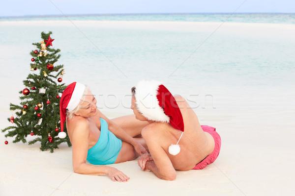 Foto stock: Casal · de · idosos · sessão · praia · árvore · de · natal · amor