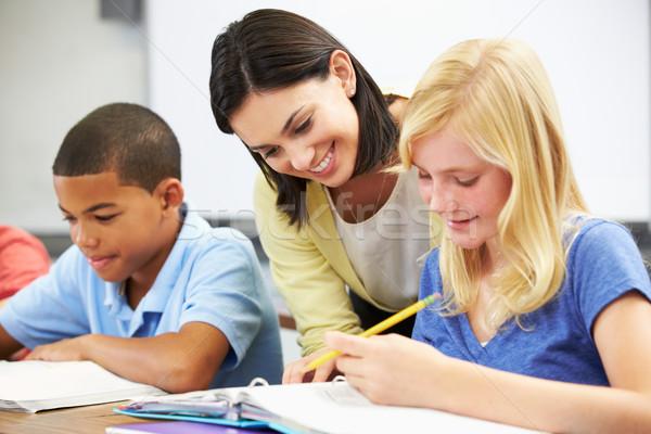 Stock foto: Lehrer · helfen · Schüler · Studium · Klassenzimmer · Frau