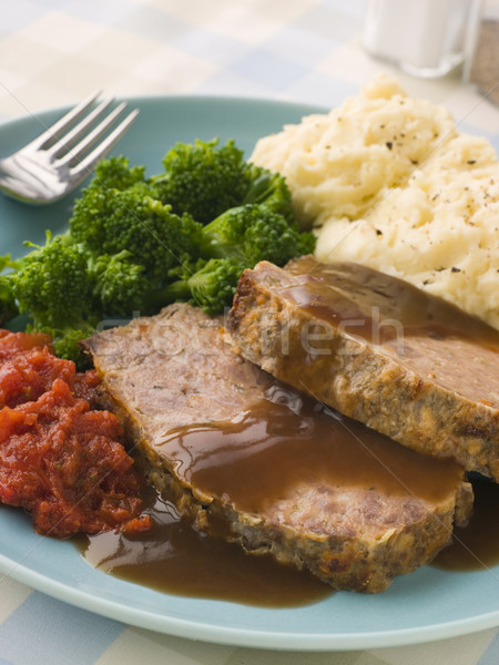 Mama's Meatloaf with Mashed Potato Broccoli Tomatoes and Gravy Stock photo © monkey_business