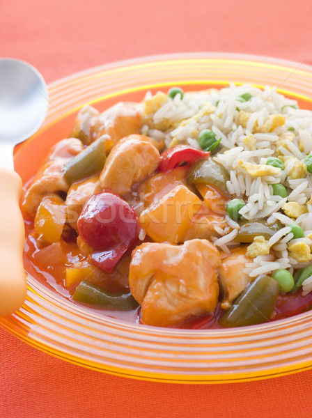 Sweet and Sour Chicken with Egg Fried Rice Stock photo © monkey_business
