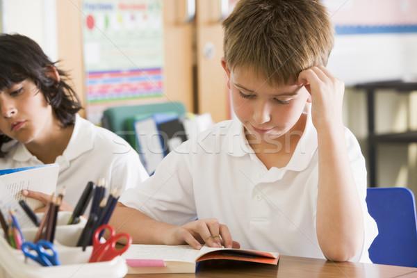 Stockfoto: Schoolkinderen · lezing · boeken · klasse · school · onderwijs