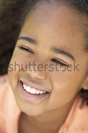 Foto d'archivio: Ritratto · ragazza · sorridere · felice · ragazzi · bambino