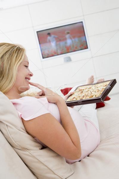 Foto stock: Mujer · embarazada · comer · sonriendo · mujer · familia