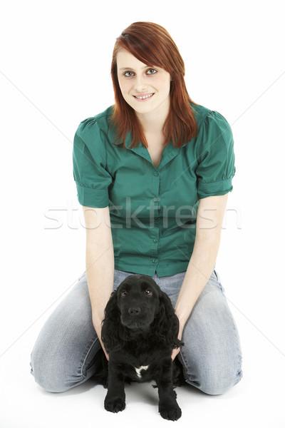 Menina preto cachorro retrato cor adolescente Foto stock © monkey_business