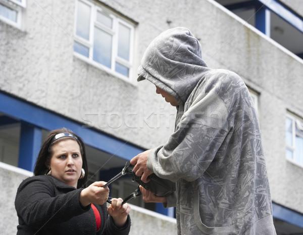 Adam kadın sokak kentsel genç erkek Stok fotoğraf © monkey_business