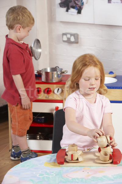 Two Young Children Playing Together at Montessori/Pre-School Stock photo © monkey_business