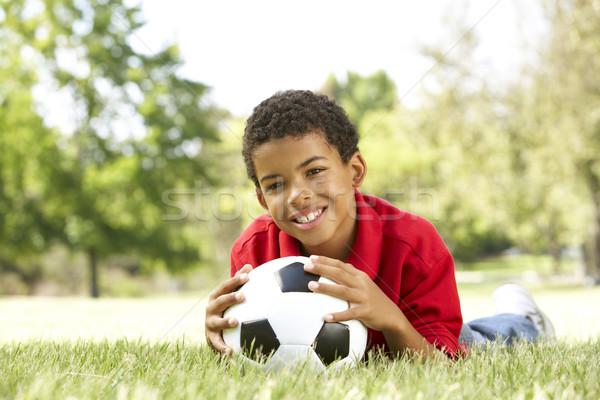 Stockfoto: Jongen · park · voetbal · voetbal · gelukkig · kind