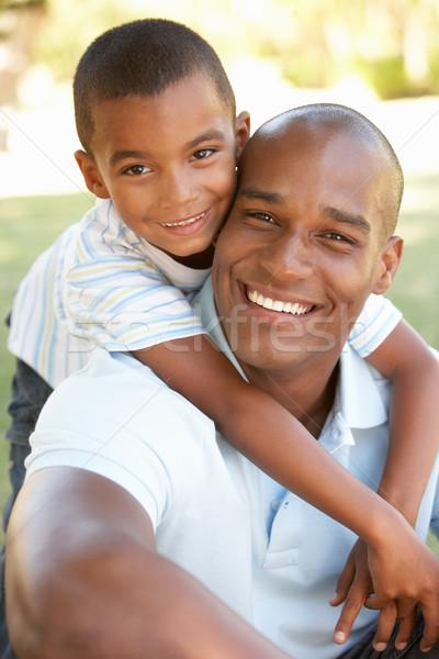 Portrait heureux père en fils parc famille enfant Photo stock © monkey_business