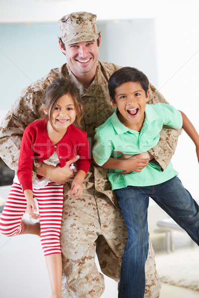 Children Greeting Military Father Home On Leave Stock photo © monkey_business