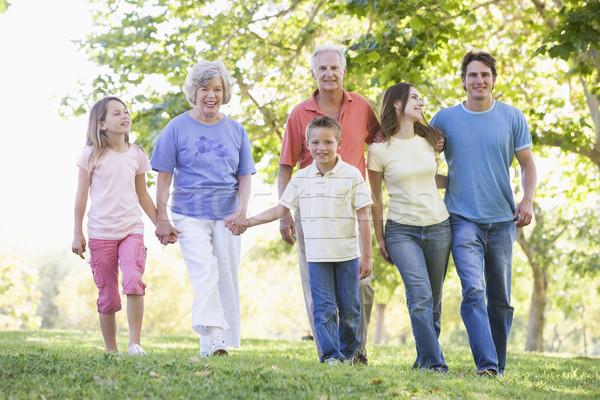 Stockfoto: Uitgebreide · familie · lopen · park · holding · handen · glimlachend · vrouw