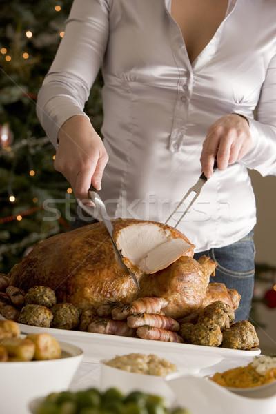 Сток-фото: Рождества · Турция · мяса · вилка · приготовления