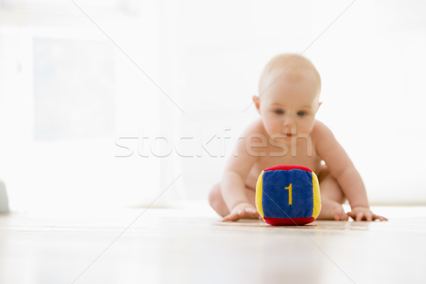 Baby sitting indoors with block Stock photo © monkey_business