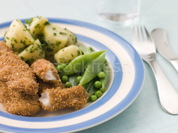 Chicken Goujons with Herb Buttered New Potatoes and Green Vegeta Stock photo © monkey_business