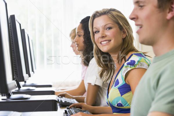 College studenti laboratorio informatico studente istruzione uomini Foto d'archivio © monkey_business