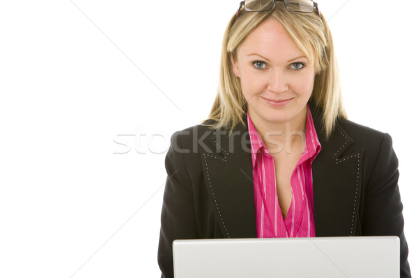 Сток-фото: деловая · женщина · сидят · ноутбука · бизнеса · женщину · очки