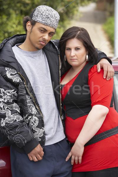 Em pé carro rua casal retrato Foto stock © monkey_business