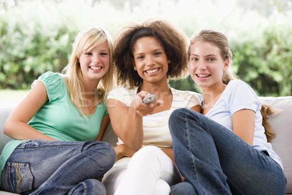 Foto stock: Sessão · sofá · feliz · amigos · meninas