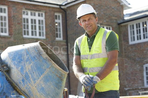 Foto d'archivio: Cemento · casa · costruzione · uomini · lavoro