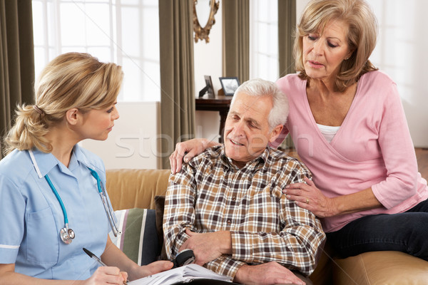 Senior Couple Talking To Health Visitor At Home Stock photo © monkey_business