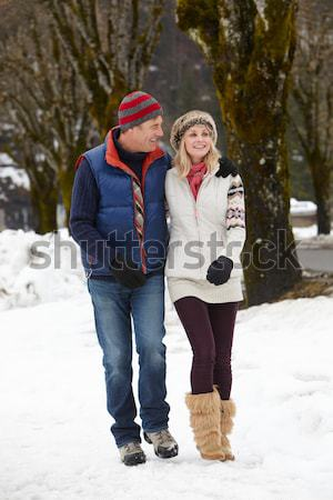 Young Father And Daughter In Snow With Sled Stock photo © monkey_business