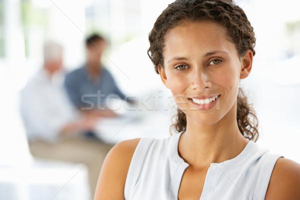 Genç işkadını ofis arka plan çalışma elbise Stok fotoğraf © monkey_business