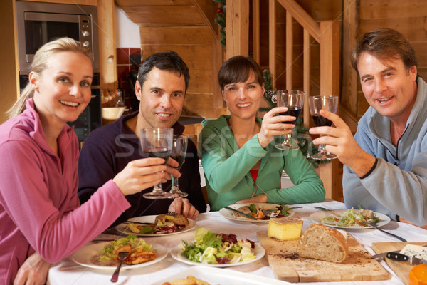 Group Of Friends Enjoying Meal In Alpine Chalet Together Stock photo © monkey_business
