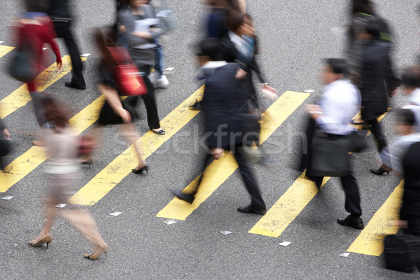 Stock photo: Overhead View Of Commuters Crossing Busy Hong Kong Street
