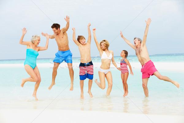 Multi Generation Family Having Fun In Sea On Beach Holiday Stock photo © monkey_business