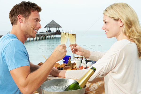 Couple Enjoying Meal In Seafront Restaurant Stock photo © monkey_business