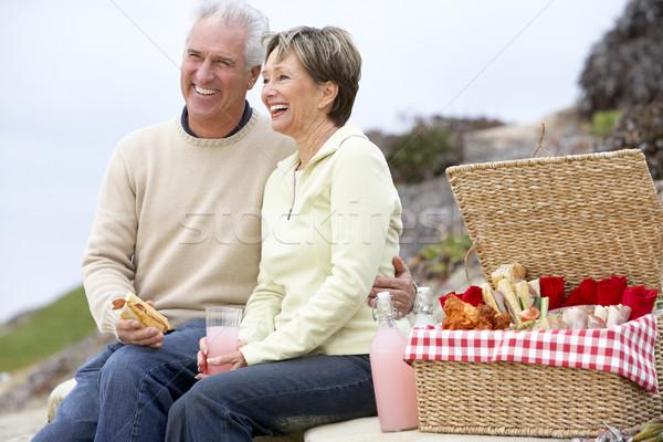 Stockfoto: Paar · eten · maaltijd · strand · man