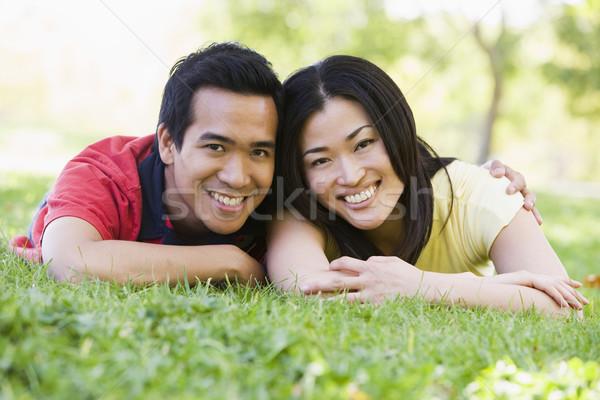 Foto stock: Pareja · aire · libre · sonriendo · hierba · hombre · feliz
