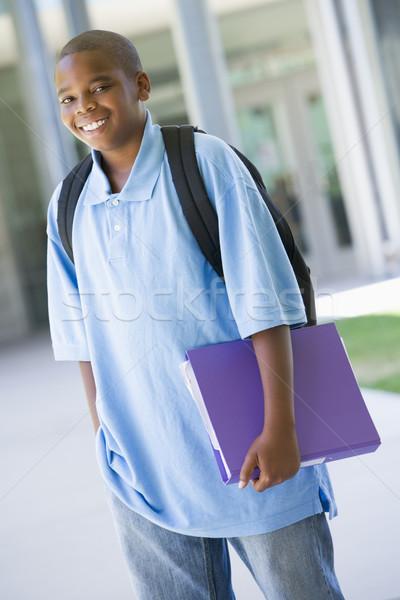 Stock fotó: általános · iskola · kívül · hordoz · mappa · gyerekek · gyermek