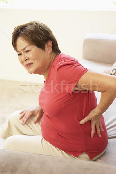 Stok fotoğraf: Kıdemli · kadın · sırt · ağrısı · ev · sağlık